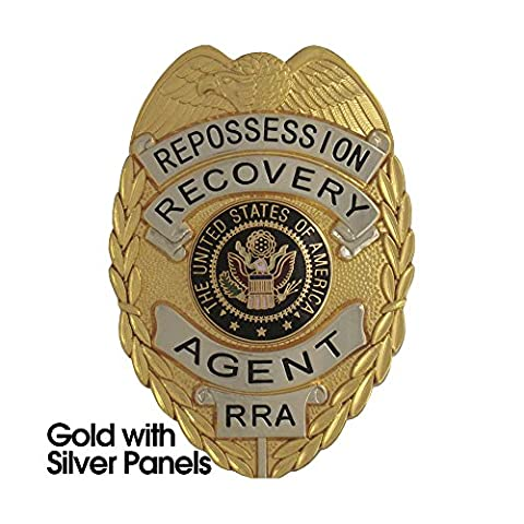 435 Gold with Silver Panels Repossession Recovery Agent Badge Set- Free Badge Case! - Agent Badge
