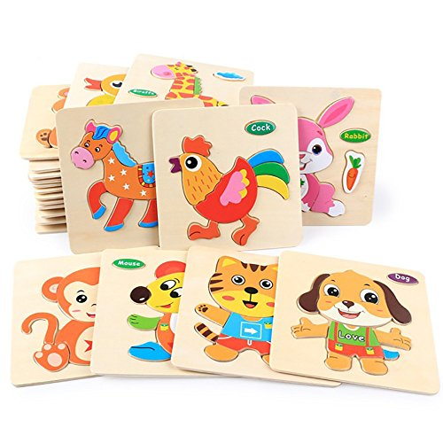 CieKen Wooden Puzzles for Toddlers 2 Years,Wooden Puzzle Educational Developmental Baby Kids Training Toy by CieKen (Image #5)