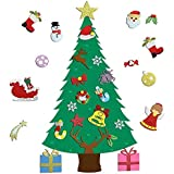 Ehugos 3.2 ft DIY Felt Christmas Tree Set, with 28pcs Detachable Ornaments, Double Stitched- Wall Hanging-Handmade Xmas Gifts for Child