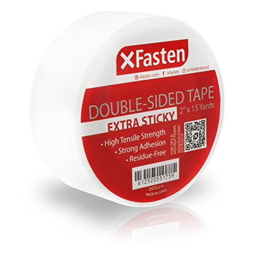 XFasten Extra Sticky Double-Sided Tape, White, 2-inch x 15-Yard, Extreme Bonding for Anti-Scratch Cat Training Tape, Rug to Carpet Anti Slip Gripper Tape, and Woodworking