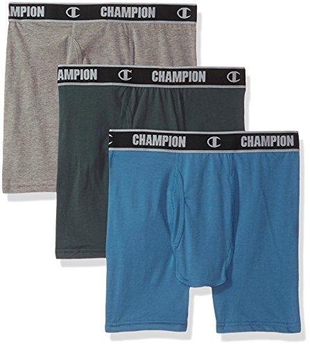 Champion Mens Cotton Performance Boxer Brief Excursion Green/Skyline Blue