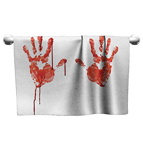(alisoso Horror,Wholesale Towels Handprint Like Wanting Help Halloween Horror Scary Spooky Flowing Blood Themed Print Quick-Dry Towels Red White W 10