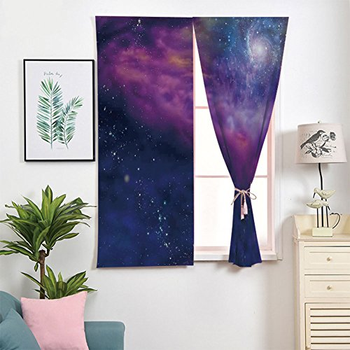 iPrint 3D Blackout Window Curtains,Free Punching Magic Stickers Curtain Portable,Paste Style,Star Clusters Milky Circle Back with Solar System,2 Panels,for Living - Solar Stick Down Panel