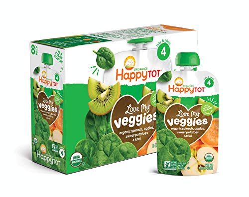 Happy Tot Organic Stage 4 Baby Food Love My Veggies Spinach Apple Sweet Potato & Kiwi, 4.22 Ounce Pouch (Pack of 16) (Packaging May Vary) -