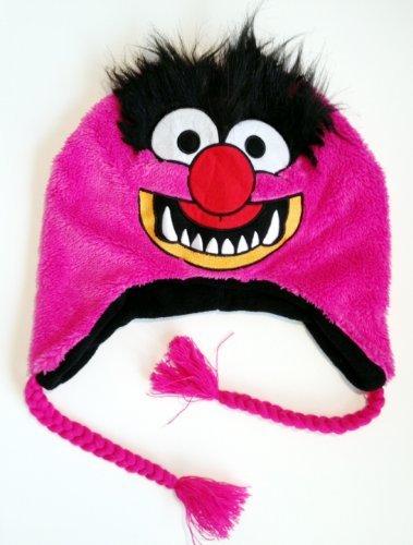 Muppets Cartoon Tv Shows Movie - Animal Pink Felt Applique Laplander Winter Cap Hat