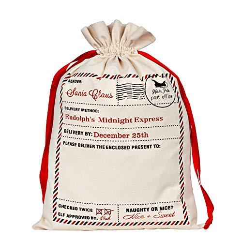 WeiVan Canvas Bag Red Drawstring Santa Sack Santa Label Stamp North Pole Address Large Bag 26x18inch