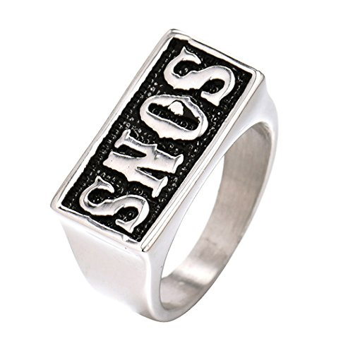 Masop Vintage Silver Tone Stainless Steel Mens Band Ring Sons Sons Of Anarchy Size 9
