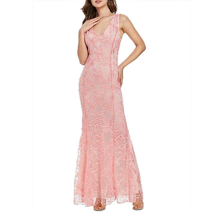 28288661e4 Image Unavailable. Image not available for. Color  Big Caopixx Dresses for  Women Party Wedding Deep V-Neck Lace Princess Maxi Dresses Evening