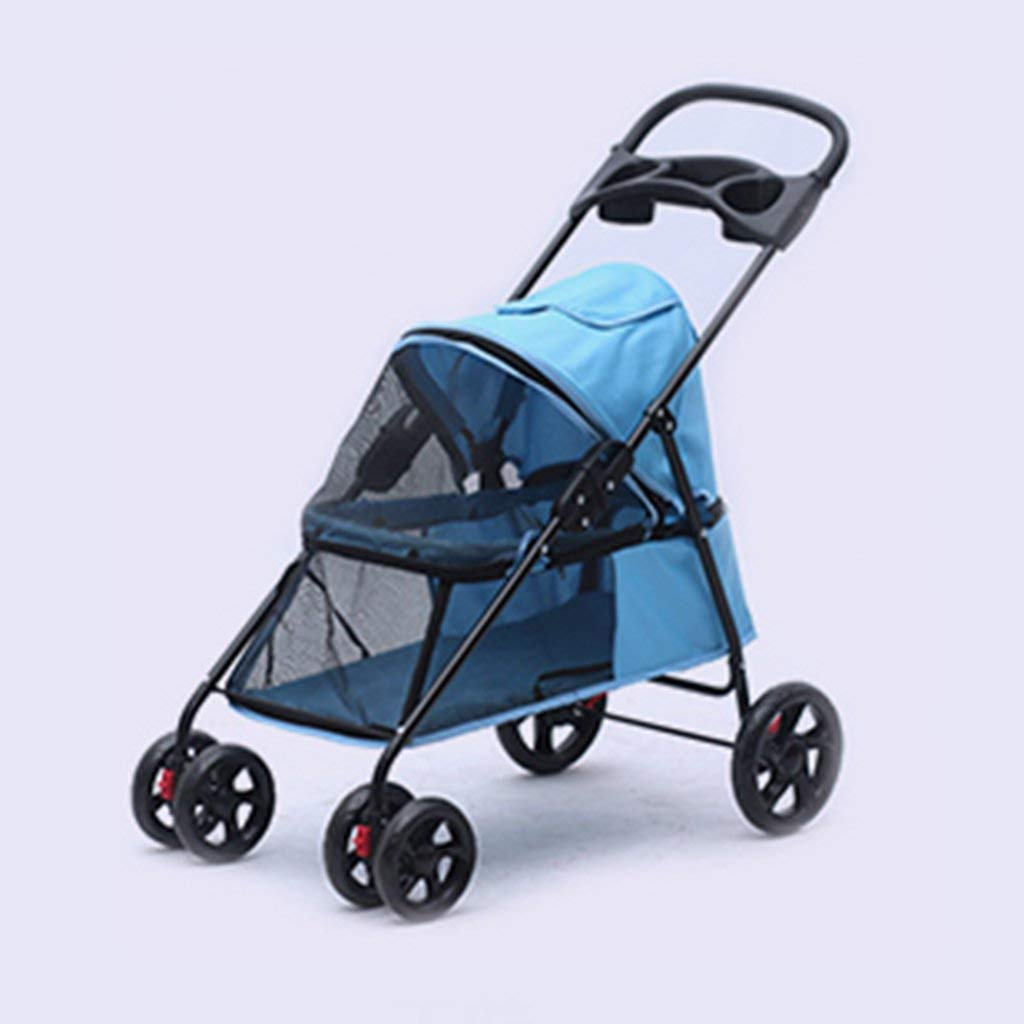 Cochecito para mascotas de cuatro ruedas para gatos/perros Carrito con compartimiento convertible Caminar para jogger Jogging Travel (Tamaño : G): ...