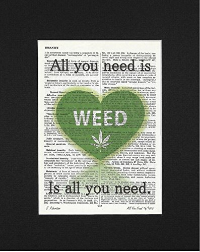 Vintage Hand Signed (All You Need Is Weed - Limited Edition, Hand Signed, Upcycled Vintage Dictionary Art Print. Beautifully Matted and Ready To Frame)
