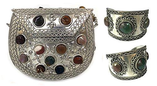 Batu Lee Handmade Antique Metal & Agate Clutch Purse hard Handbag with Strong Golden/Silver Chain Multi Elipse Shape for Women alongwith Free 1 Cuff Bracelet Wristlet (Silver)
