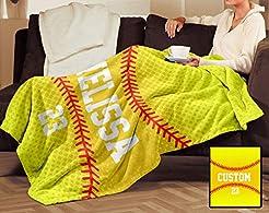 BKG Creations Softball Custom Fleece Bla...