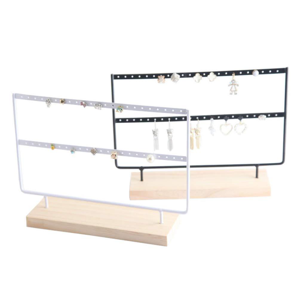 base de madera de 46 agujeros para pendientes 24*7*22cm soporte expositor para mujeres y ni/ñas VKTY Organizador de pendientes organizador de joyas soporte para pendientes Blanco color negro