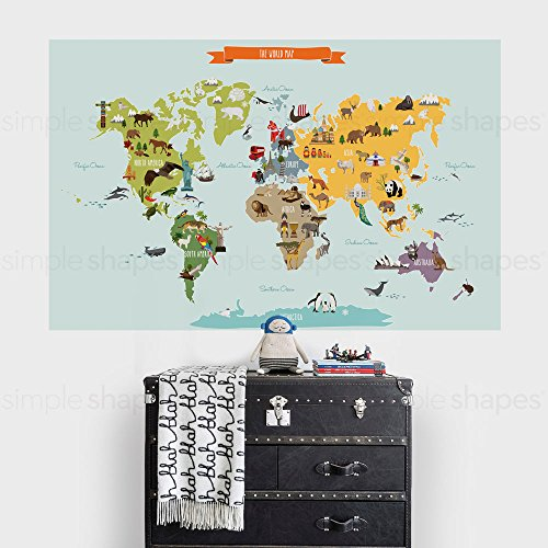 Childrens World Map Poster Wall Sticker Illustrated World Map (Medium - 52.5