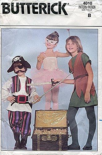 Ballerina Pirate Child Costumes (Butterick Pattern 4010 Pirate, Ballerina, Peter Pan Costume, Size B Children's 2-6X)