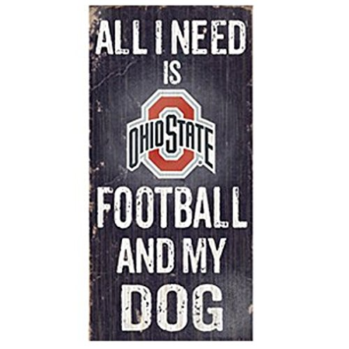 Official National Collegiate Athletic Association Fan Shop Authentic NCAA Wooden Signs (Ohio State Buckeyes - Football and Dog)