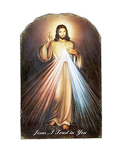 Catholic Divine Mercy Icon Tile Plaque with Stand, 8 1/2 Inch ()