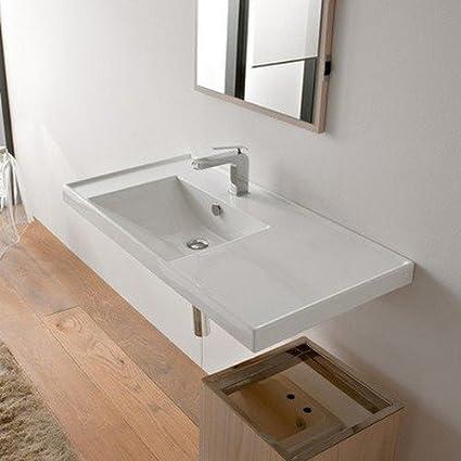 scarabeo 3008 one hole ml rectangular ceramic self rimmingwall mounted bathroom sink - Wall Mounted Bathroom Sink