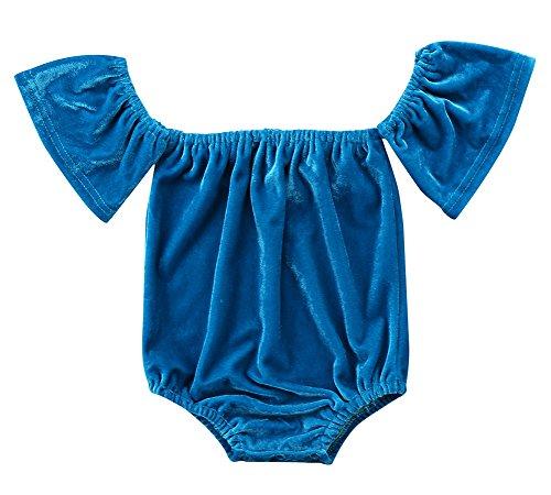Pudcoco Infant Baby Girls Off-Shoulder Solid Color Velvet Ruffle Bodysuit Jumpsuit One-Piece Romper (12-18M, Blue) (Velvet Onesie)