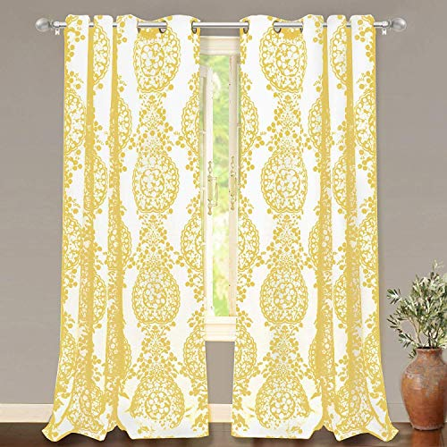 DriftAway Samantha Thermal Room Darkening Grommet Unlined Window Curtains Floral Damask Medallion Pattern 2 Panels Each 52 Inch by 84 Inch Yellow (Printed Curtains Yellow)
