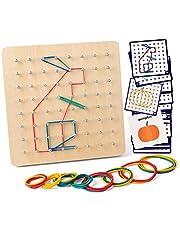 Coogam Houten Geoboard met activiteitenpatroonkaarten en latexbanden - 8x8 pins geometrie Geobord Montessori-vorm Puzzelbord Inspireer de verbeelding en creativiteit van kinderen