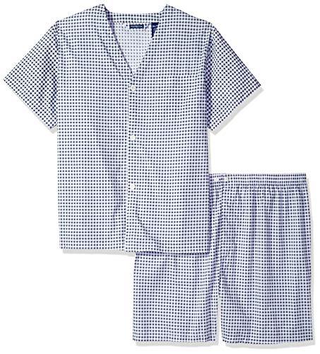 Fruit of the Loom Men's Plaid Broadcloth Short Sleeve Pajama, Navy Check, ()