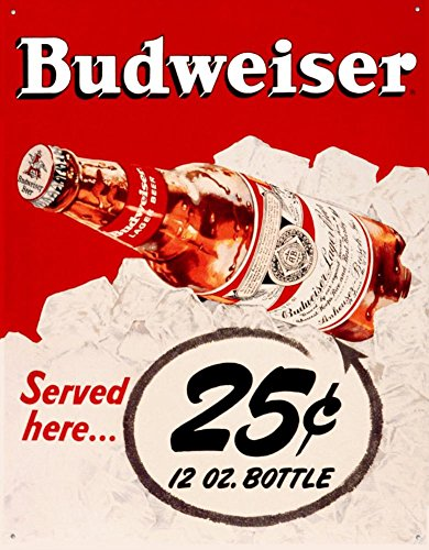 (Budweiser 25 Cents Tin Sign 13 x)