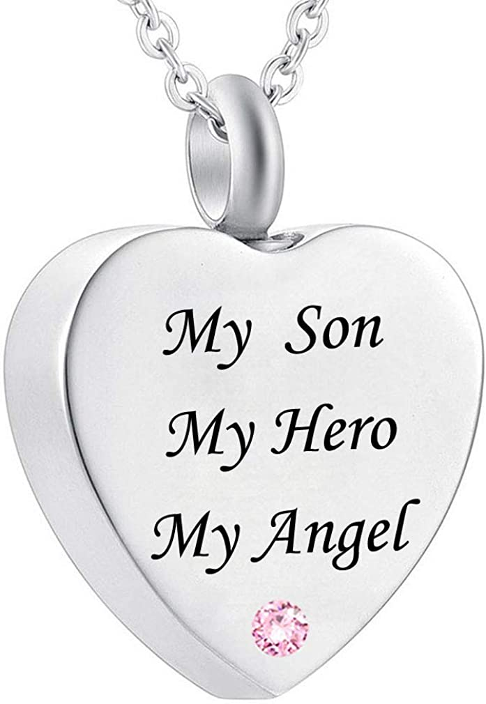 WK My Son My Hero My Angel Cremation Jewelry Memorial Urn Necklace Pendant