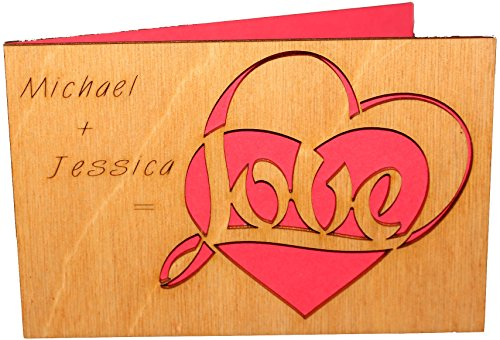 Personalized Real Wood Valentine with Love Heart Unique Custom Greeting Card Best Wedding Dating 5th Fifth Wooden Anniversary Gift for Him Man Husband Boyfriend or Her Woman Wife Girlfriend - Cards Customize Gift