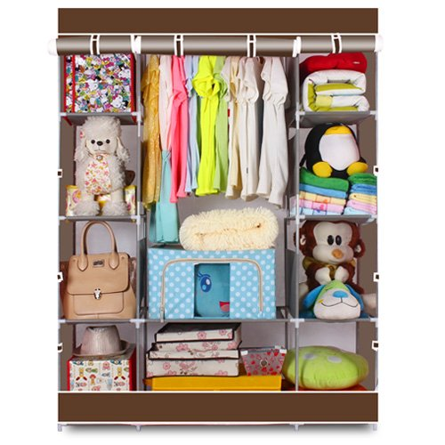 Lovinland Portable Closet Wardrobe 4 Layer Clothes Organizer Metal Shelf Cabinet with Non-Woven Cover