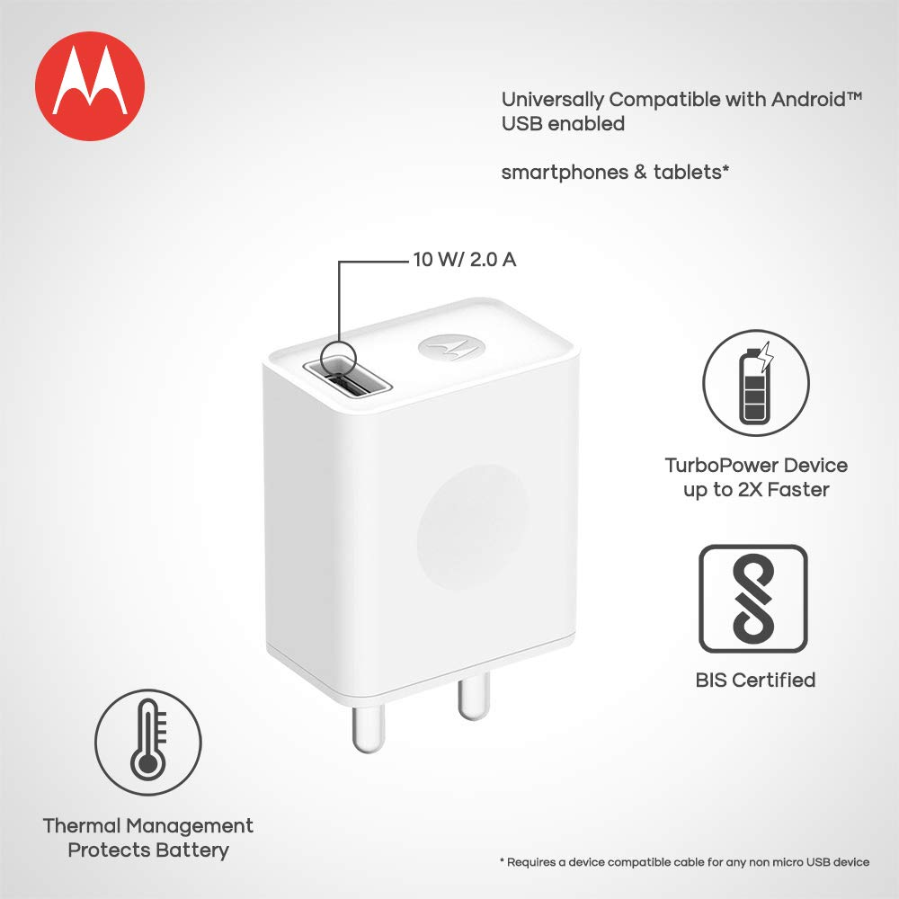 Motorola C-P49L SPN5967A Micro-USB Rapid Mobile Charger (White)