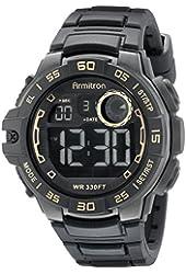Armitron Sport Men's 40/8343GLD Gold-Tone Accented Digital Chronograph Black Silicone Strap Watch