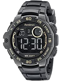 Men's 40/8343GLD Gold-Tone Accented Digital Chronograph Black Silicone Strap Watch