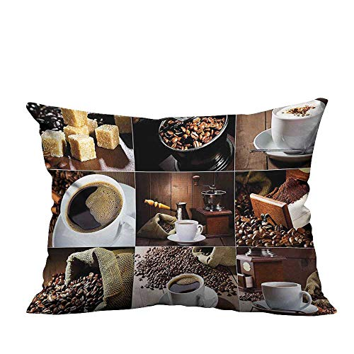 YouXianHome Sofa Waist Cushion Cover Photos of Coffee Mugs and Roasted Bean Bags Grinder Sugarcubes Collage Brown White Decorative for Kids Adults(Double-Sided Printing) 13x17.5 inch