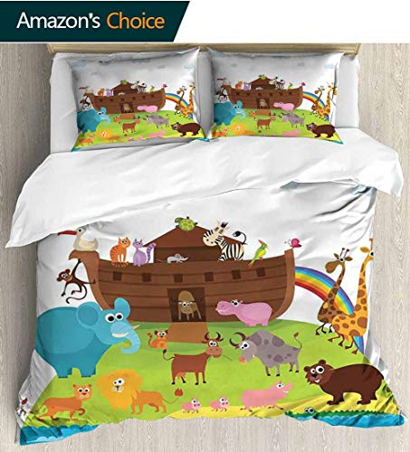 shirlyhome Cartoon 3 PCS King Size Comforter Set,Various Safe Animals The Two of Every Kind Boarding The Ark Clip Art Design Print with 1 Pillowcase for Kids Bedding 87