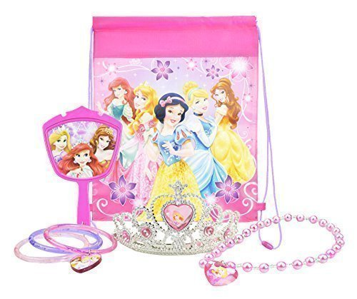 Disney Princess Jewelry Set, with Princess Tiara, Necklace, Mirror, PLUS Disney Princess Bag - Party Favor Bundle ()