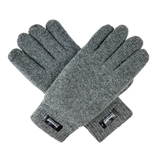 Bruceriver Men's Pure Wool Knitted Gloves with Thinsulate Lining and Elastic Rib Cuff Size L/XL (Mens Pure Wool)