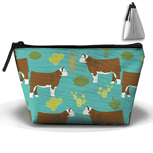 Hereford Cow Portable Lovely Reusable Picnic Lunch Carry Bag Box Trapezoid Portable Travel Organizer Food Holder Casual Bags