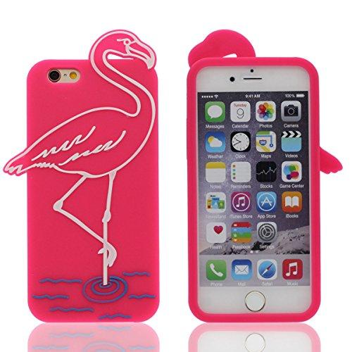 """Morbida Custodia per iPhone 6 / 6S 4.7"""", Bellissimo Rosa caldo Fenicottero Aspetto, Alta qualità Silicone Gel Confortevole Morbido a Tocco Cartone Animato Animale Stile Cover Copertura Protettiva"""