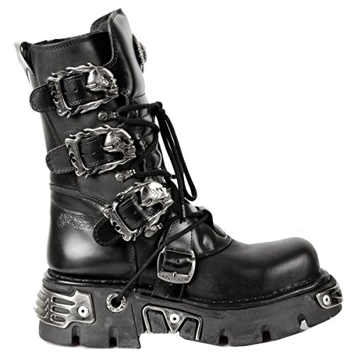 New Rock Shoes - Classic Reactor Boots with Skull Buckles UK 7.5 ()