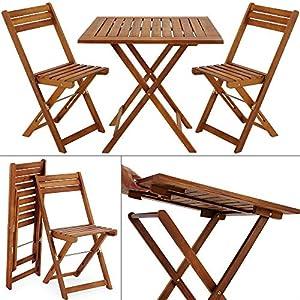 Deuba – Ensemble de Jardin en Bois d'acacia • 1 Table et 2 chaises Pliables – Salon de Jardin, Balcon, terrasse…