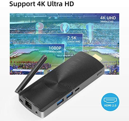 MeLE Fanless Mini PC Stick Intel Celeron J4125 8G/128G Windows 10 Pro Mini Computer Support HDMI 4K 60Hz Dual Band WiFi with Gigabit Ethernet Port PCG02 GLE
