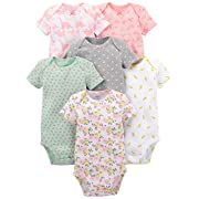 Simple Joys by Carter's Girls' 6-Pack Short-Sleeve Bodysuit, Pink Dino, Floral, Mint, White, Gray, 0-3 Months