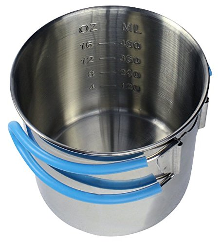 (Stainless Steel Camp Cup with Measure Marks and Insulated Folding Handles by Frog & Co.)