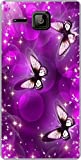 Shengshou Butterfly Design Mobile Back Cover for Micromax Bolt S301 - Purple White