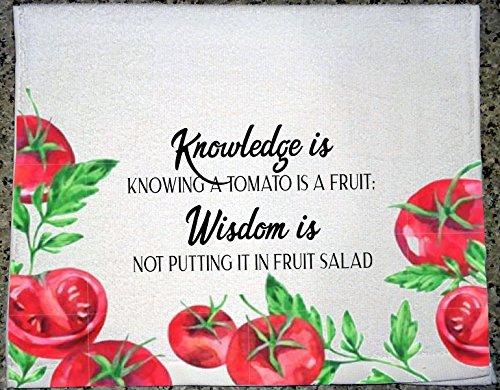 Microfiber Salad (Knowledge is Knowing Tomato Fruit - Wisdom Fruit Salad Watercolor Kitchen Tea Towel Hostess Gift)