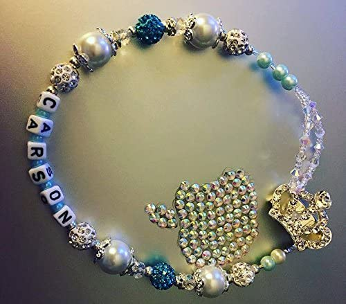romany Swavorski and rhinestones Bling Personalised Crown Dummy Clip Shamballa dummy holder pacifier clip chain custom name blue boys