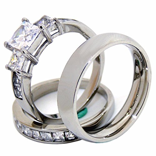 Lanyjewelry Couples Rings Set His Hers 3 Stone Type Stainless Steel Princess CZ Wedding Ring set Mens Matching Band - Size W8M10 ()
