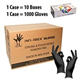 Infi-Touch Heavy Duty Nitrile Gloves, Strong & Tough, High Chemical Resistant, Disposable Gloves, Powder-Free, Non Sterile, Ambidextrous, Finger Tip Textured (10, Large)