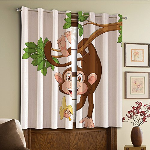 Custom design curtains/Vintage Lace Window Curtain/Grommet Top Blackout Curtains/Thermal Insulated Curtain For Bedroom And Kitchen-Set of 2 Panels(From Tree And Holding Banana Jungle Animals Them) by NALAHOMEQQ